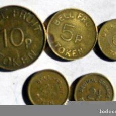 Monedas locales: 5 DELA BELL FRUIT DIFERENTES. Lote 94111505