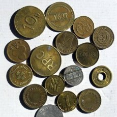 Monedas locales: 16 FICHAS DIFERENTES. Lote 94111865