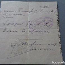 Monedas locales: CNT. GUERRA CIVIL. 1937. SOCIALIZADA DEL TRANSPORTE. BARCELONA-MANRESA. RECIBO ENVIO AL FRENTE. Lote 96052407