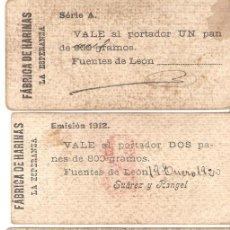 Monedas locales: LOTE 4 VALES DE PAN. FUENTES DE LEÓN, BADAJOZ . 1,2,3 Y 5. Lote 96985827