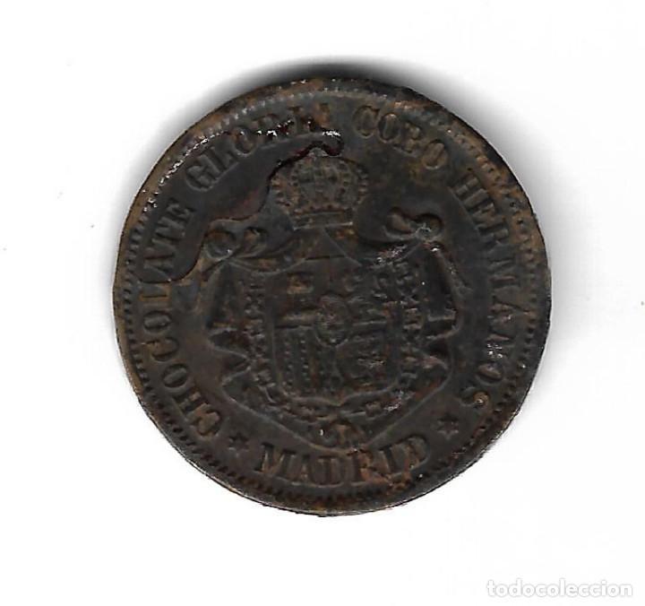 Monedas locales: FICHA. CHOCOLATE GLORIA COBO HERMANOS. MADRID. IMAGEN DE LEO XIII PONTIFICE MAXIMO. - Foto 2 - 99125567