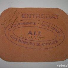 Monedas locales: BILLETE DINERARIO...C.N.T. - A.I.T.......LES BORGES BLANQUES. Lote 99974351