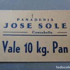 Monedas locales: CONCABELLA. PLANS D'EL SIÓ. LLEIDA. PANADERÍA JOSÉ SOLE. VALE 10 KILOS DE PAN. INTERESANTE. Lote 100301379