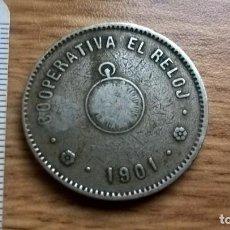 Monedas locales: 5 PESETAS. COOPERATIVA EL RELOJ. 1901. Lote 101639531