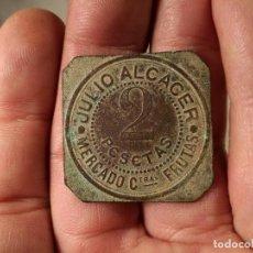 Monedas locales: FICHA DE 2 PTAS DE JULIO ALCACER MERCADO CENTRAL FRUTAS AÑOS 40-50 - VALENCIA ? BARCELONA ?.. 3 CM. Lote 101909719