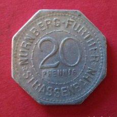 Monedas locales: FICHA, JETON, TOKEN, TOKEN. TRANVIA DE NURNBERG. ALEMANIA. 20 PFENNIG.. Lote 102502719