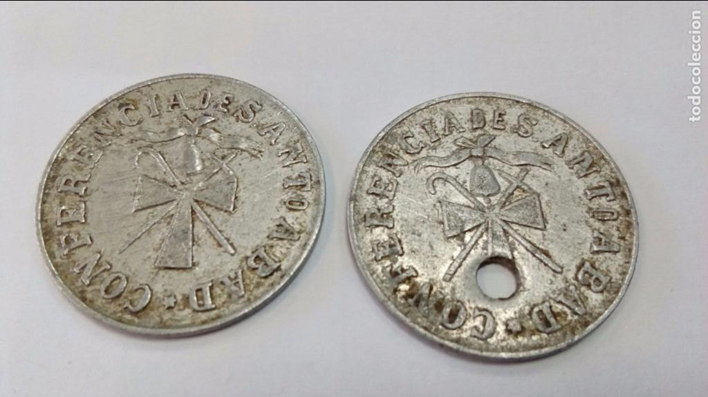 Monedas locales: Dos fichas de la Conferencia de San Antonio Abad (Asturias) - Leche y Legumbres - Foto 2 - 102761151