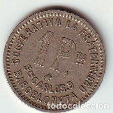 Monedas locales: COOPERATIVA LA FRATERNIDAD BARCELONETA 1 PESETA 1915. Lote 103061055