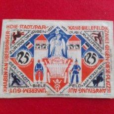 Monedas locales: BILLETE DE TELA, BIELEFELD 1921 ALEMANIA, 25 MARCOS, MONEDA DE NECESIDAD, POSGUERRA, TOKEN, JETON. Lote 103390107