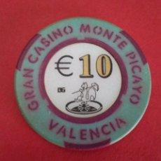 Monedas locales: FICHA, JETON, TOKEN. GRAN CASINO MONTE PICAYO. VALENCIA. FICHA DE CASINO.. Lote 146536162
