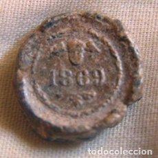 Monedas locales: PRECINTO PLOMO / ADUANA BARCELONA - 1869. Lote 104159363