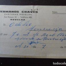 Monedas locales: NOVELDA. ALICANTE.HERMANOS CHAVES. CANTERAS. VALE POR 70 METROS DE RODILLO. 1969. Lote 105995059