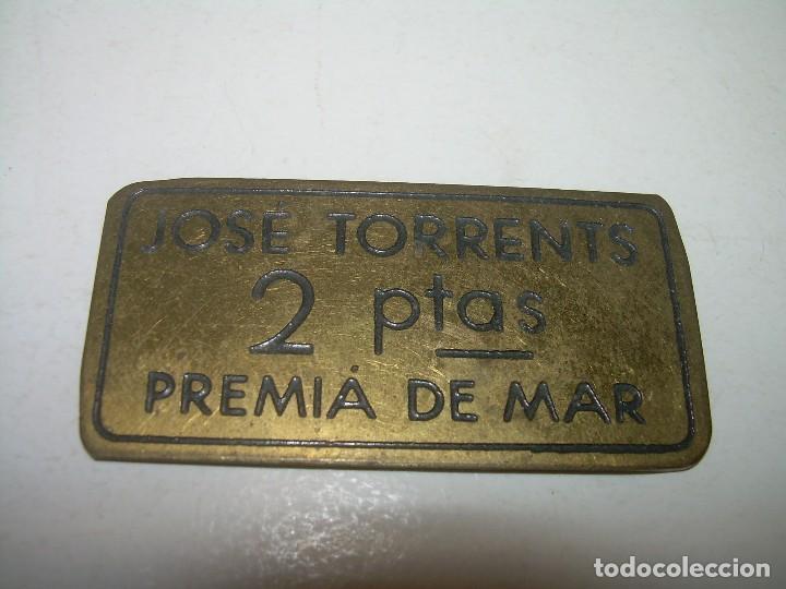 ANTIGUA FICHA DINERARIA....COOPERATIVA OBRERA...PREMIA DE MAR..BARCELONA...JOSE TORRENTS. (Numismática - España Modernas y Contemporáneas - Locales y Fichas Dinerarias y Comerciales)