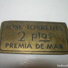Monedas locales: ANTIGUA FICHA DINERARIA....COOPERATIVA OBRERA...PREMIA DE MAR..BARCELONA...JOSE TORRENTS.. Lote 110781503