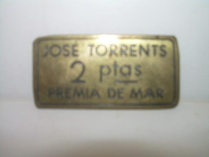 Monedas locales: ANTIGUA FICHA DINERARIA....COOPERATIVA OBRERA...PREMIA DE MAR..BARCELONA...JOSE TORRENTS. - Foto 2 - 110781503