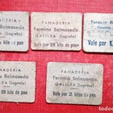Monedas locales: 5 VALES DE PAN.FERMINA BALMASEDA.PANADERIA GALILEA.-LOGROÑO-LA RIOJA. Lote 148796669