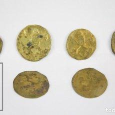 Monedas locales: CONJUNTO DE 6 FICHAS DE LATÓN - SP / SAN PEDRO ? / VATICANO - MITRA Y LLAVES - DIÁM. 26 MM. Lote 112402811
