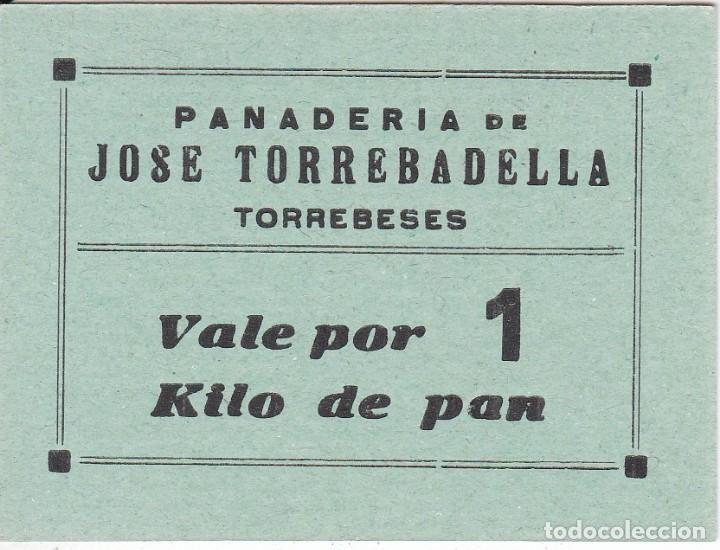 VALE POR 1 KILO DE PAN DE LA PANADERIA JOSE TORREBADELLA DE TORREBESES (LLEIDA-LERIDA) (Numismática - España Modernas y Contemporáneas - Locales y Fichas Dinerarias y Comerciales)