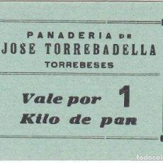 Monedas locales: VALE POR 1 KILO DE PAN DE LA PANADERIA JOSE TORREBADELLA DE TORREBESES (LLEIDA-LERIDA). Lote 112530587