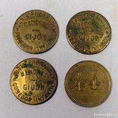 Monedas locales: GIJÓN. LOTE DE 4 FICHAS JUNTA PROTECCION MENORES. COMEDOR INFANTIL. ASTURIAS. Lote 112889843