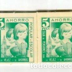 Monedas locales: LA CAIXA LOTE DE DOS VALES DE 5 PESETAS EN CARTON AHORRO ESCOLAR AÑOS 70. Lote 113363735