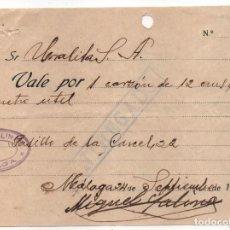 Monedas locales: MALAGA. -URALITA. INCAUTACION OBRERA-FACTURA+ DOS VALE:.-AÑO 1936, VER FOTOS. Lote 114728031