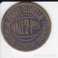 Monedas locales: FICHA DE 2 PESETAS DE PABLO OLIVELLA DEL MERCADO CENTRAL DEL BORNE DE BARCELONA (MONEDA) . Lote 115465167