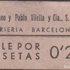Monedas locales: BILLETES LOCALES - BARCELONA - VIDRIERIA BARCELONESA - 0'20 PESETAS - L974 (EBC). Lote 116077927