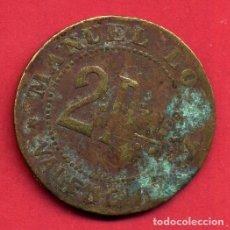 Monedas locales: MONEDA O FICHA LOCAL , 2 PESETAS , MANUEL LOPEZ , POSIBLE MERCADO DE ABASTOS ,ORIGINAL ,B13. Lote 116537283