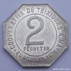 Monedas locales: FICHA COMERCIAL - 2 PESETAS - COOPERATIVA DE TEIXIDORS - SIN CIRCULAR. Lote 117517999