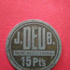Monedas locales: FICHA/JETÓN/TOKEN. J.DEU B. MERCADO CENTRAL BARCELONA.. Lote 118087644