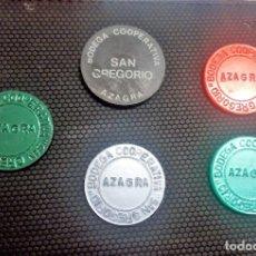 Monedas locales: JUEGO FICHAS BODEGA COOPERATIVA SAN GREGORIO DE AZAGRA -NAVARRA-. Lote 119094723