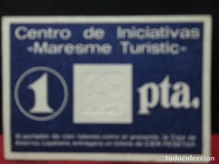 VALE DE 1 PESETA CENTRO DE INICIATIVAS MARESME TURISTIC (Numismática - España Modernas y Contemporáneas - Locales y Fichas Dinerarias y Comerciales)