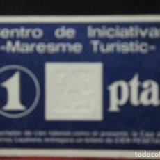 Monedas locales: VALE DE 1 PESETA CENTRO DE INICIATIVAS MARESME TURISTIC. Lote 121108219