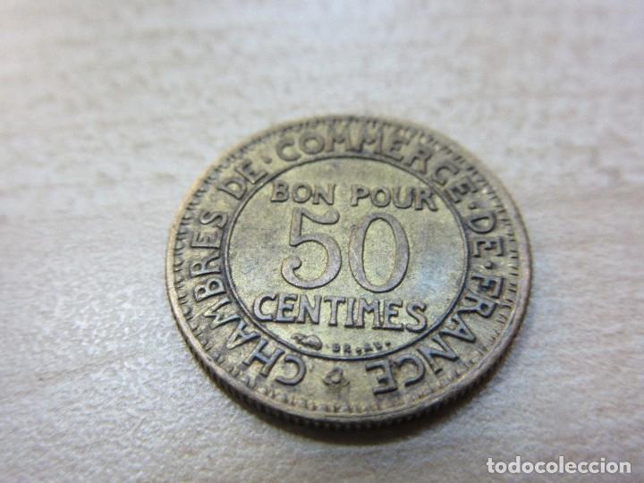 Monedas locales: Interesante ficha francesa de 50 cms de las Cámaras de Comercio de Francia 1922 - Foto 4 - 121147531