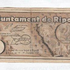 Monedas locales: RIPOLL- 1 PESETA- 29 DE OCTUBRE DE 1937. Lote 121296987