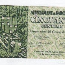 Monedas locales: AYUNTAMIENTO DE BARCELONA- 50 CENTIMOS-03 DE MAYO DE 1937. Lote 121297363