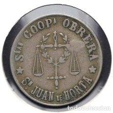 Monedas locales: FICHA, COOPERATIVA OBRERA, SAN JUAN DE HORTA, VALOR: 5 PESETAS, (V.O.). Lote 121398391
