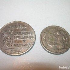 Monedas locales: DOS FICHAS DINERARIAS....CONSEJO SANTANDER, PALENCIA Y BURGOS..AÑO 1937. Lote 122090583