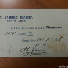 Monedas locales: CAMPO ARCIS. VALENCIA. VALE CARRO UVA. 1948. Lote 122306167