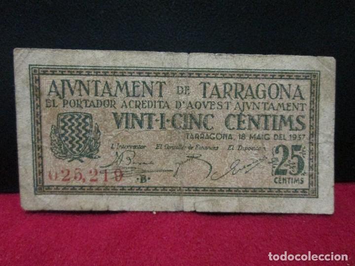 25 CENTIMS AJUNTAMENT DE TARRAGONA (Numismática - España Modernas y Contemporáneas - Locales y Fichas Dinerarias y Comerciales)