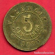 Monedas locales: MONEDA FICHA , VALENCIA 5 CENTIMOS 1903, SOCIEDAD COOPERATIVA DEL OBRERO , EBC, ORIGINAL, B17. Lote 128258667