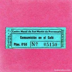 Monedas locales: VALE 0,50 PTA PARA CONSUMICION EN EL CAFE DEL CENTRO MORAL S.M.PROVENSALS PERIODO DE GUERRA CAPICUA.. Lote 128283595