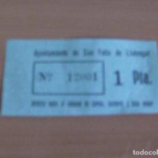 Monedas locales: 1 PTA. AYUNTAMIENTO DE SAN FELIU DE LLOBREGAT ARBITRIO SOBRE CONSUMO CARNES, VOLATERIA Y CAZA MENOR. Lote 136305053