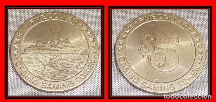 FICHA DE CASINO / FIVE DOLLAR - CASINO GAMING TOKEN / 45MM Ø / MUY BUEN ESTADO. (Numismática - España Modernas y Contemporáneas - Locales y Fichas Dinerarias y Comerciales)