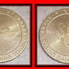 Monedas locales: FICHA DE CASINO / FIVE DOLLAR - CASINO GAMING TOKEN / 45MM Ø / MUY BUEN ESTADO.. Lote 130302454