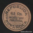 Monedas locales: MADRID,REPUBLICA ESPAÑOLA, O,5 CTS. PROVISIONAL, AÑO 1937, VER FOTOS. Lote 131093564