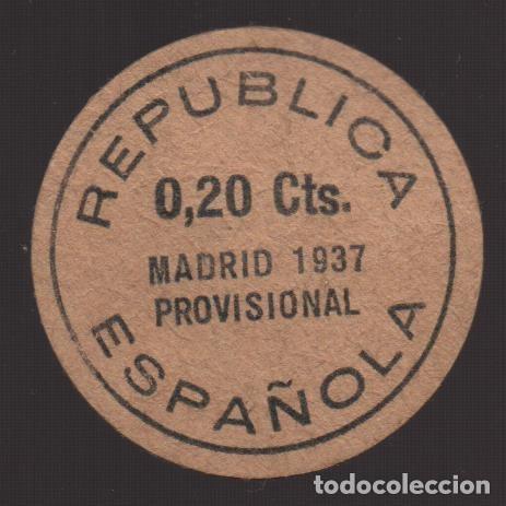 MADRID,REPUBLICA ESPAÑOLA, O,20 CTS. PROVISIONAL, AÑO 1937, VER FOTOS (Numismática - España Modernas y Contemporáneas - Locales y Fichas Dinerarias y Comerciales)