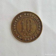 Monedas locales: F 1530 MONEDA FICHA DE 10 CENTIMOS COOPERATIVA LA MORAL - BADALONA. Lote 92699590