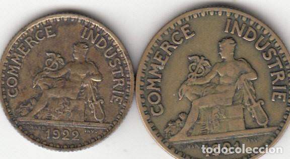 2 FICHAS: CAMARA COMERCIO FRANCIA - BON POUR 1 FRANC 1922 + 2 FRANCS 1921 (Numismática - España Modernas y Contemporáneas - Locales y Fichas Dinerarias y Comerciales)